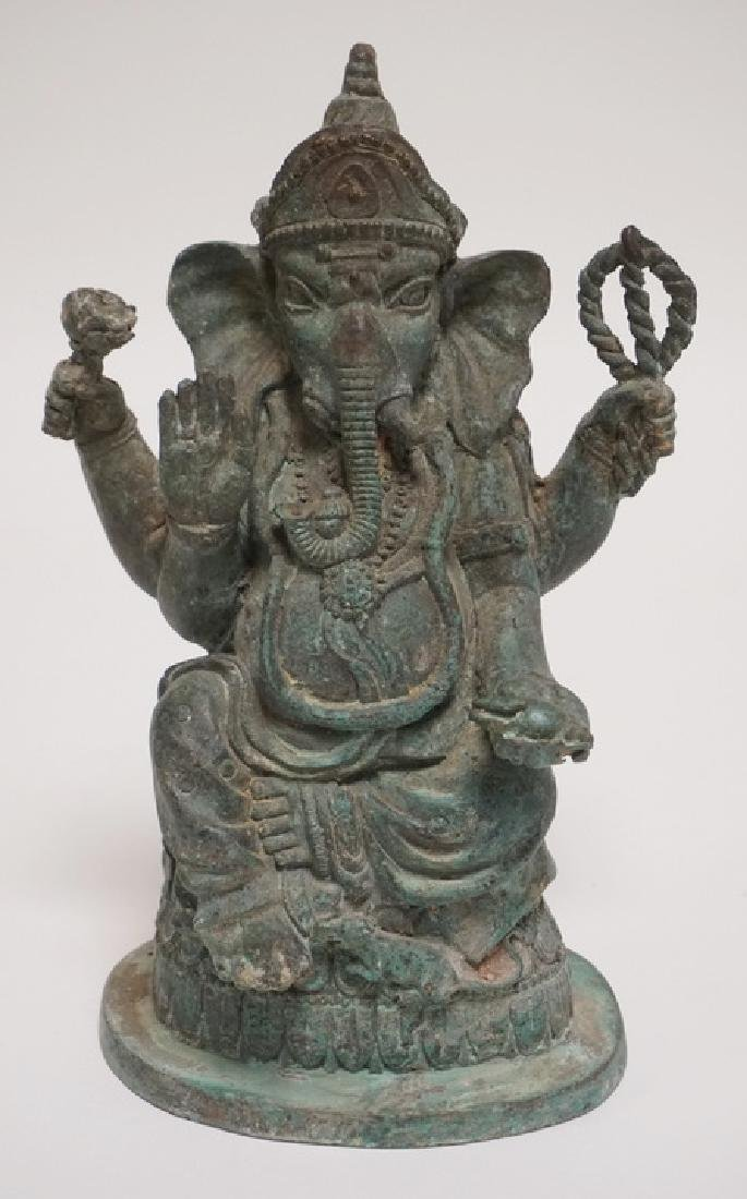 ASIAN BRONZE GANESH FIGURE MEASURING 10 3/4 INCHES