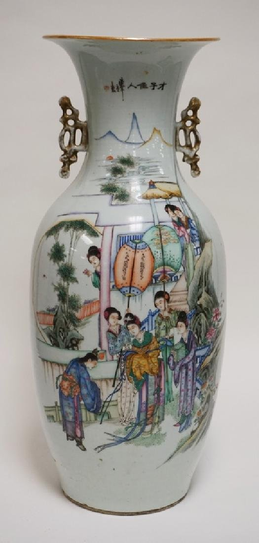 LARGE ASIAN PORCELAIN VASE WITH POLYCHROME DECORATIONS