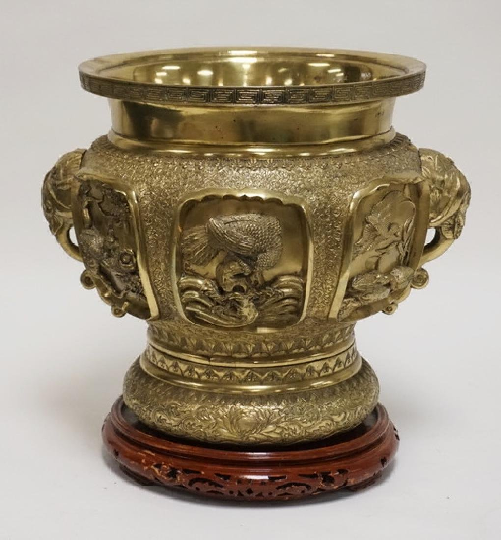 HEAVY ASIAN CAST BRASS URN DECORATED WITH ELEPHANT