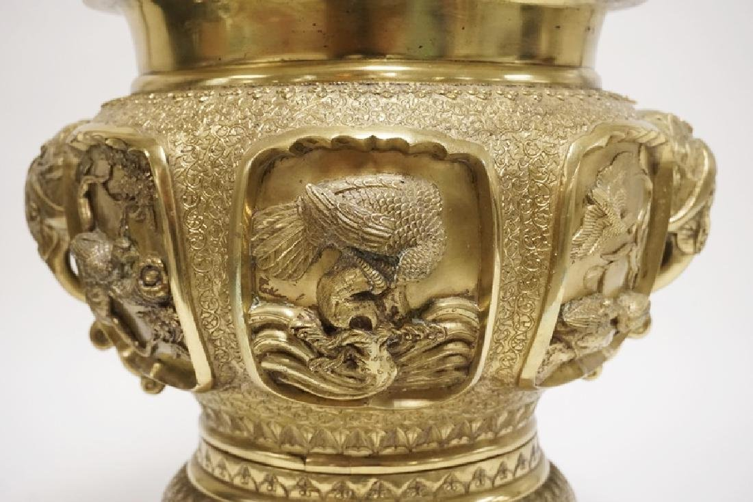 HEAVY ASIAN CAST BRASS URN DECORATED WITH ELEPHANT - 2
