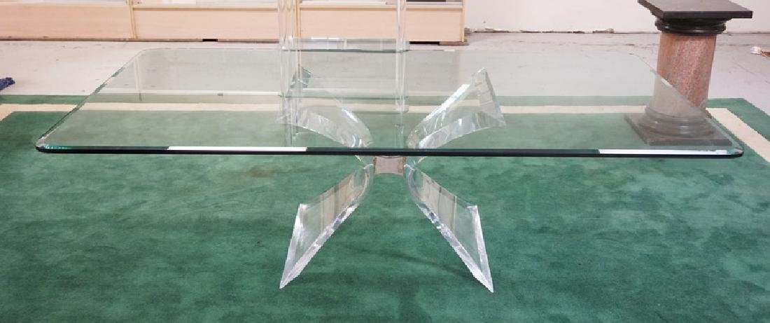 *LION IN FROST* MODERN LUCITE AND GLASS DINING TABLE.