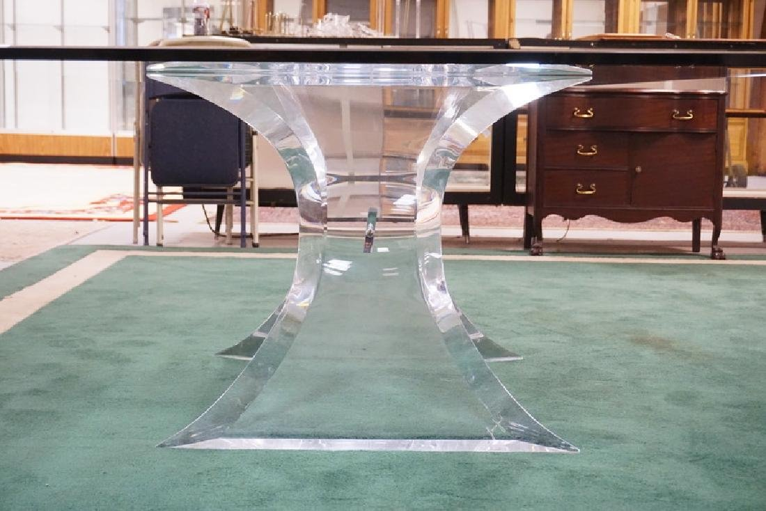 *LION IN FROST* MODERN LUCITE AND GLASS DINING TABLE. - 2