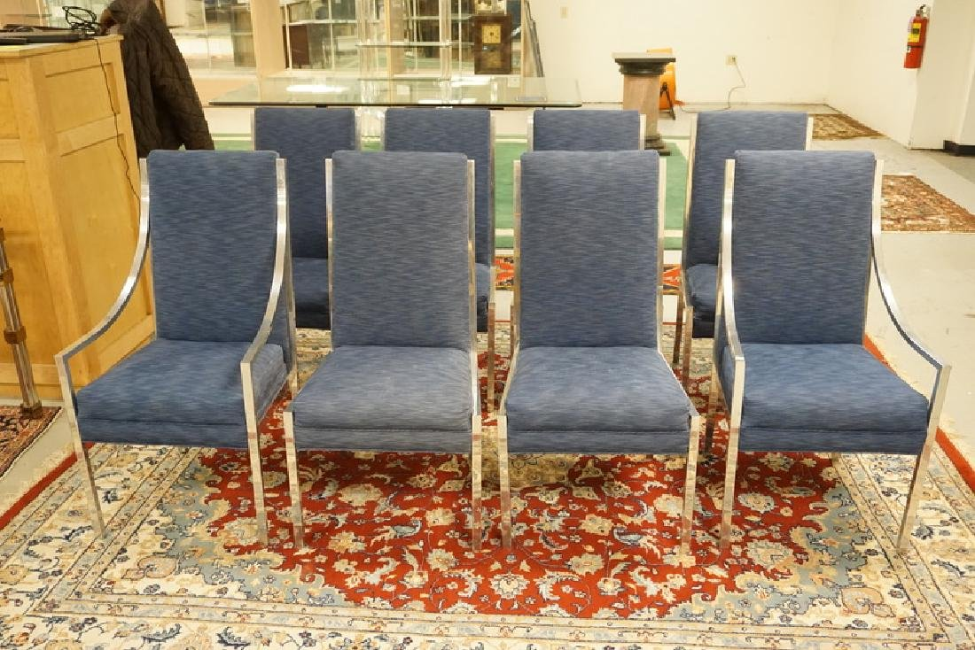 SET OF 8 MID CENTURY MODERN CHROMED DINING CHAIRS IN