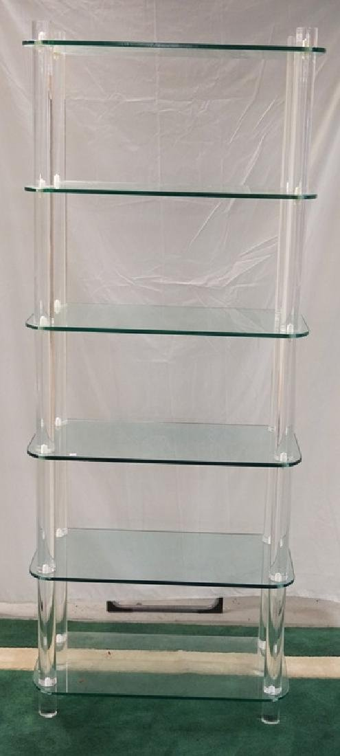 MID CENTURY MODERN LUCITE AND GLASS SHELF UNIT. 6 TIRES