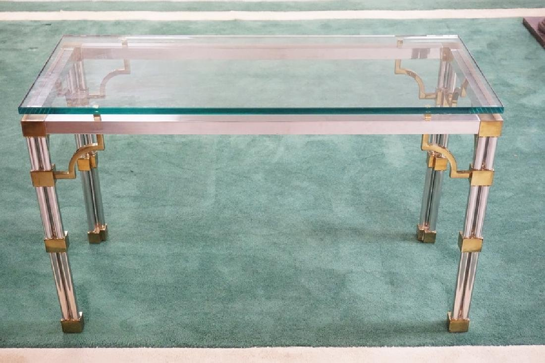 MODERN CHROME & BRASS CONSOLE TABLE WITH A GLASS TOP.