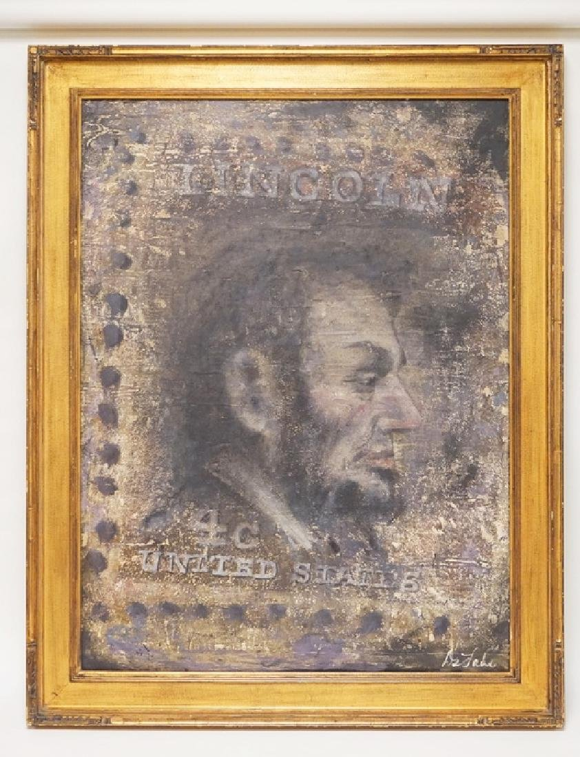 JOHN DELADE OIL PAINTING ON CANVAS OF A 4 CENT LINCOLN