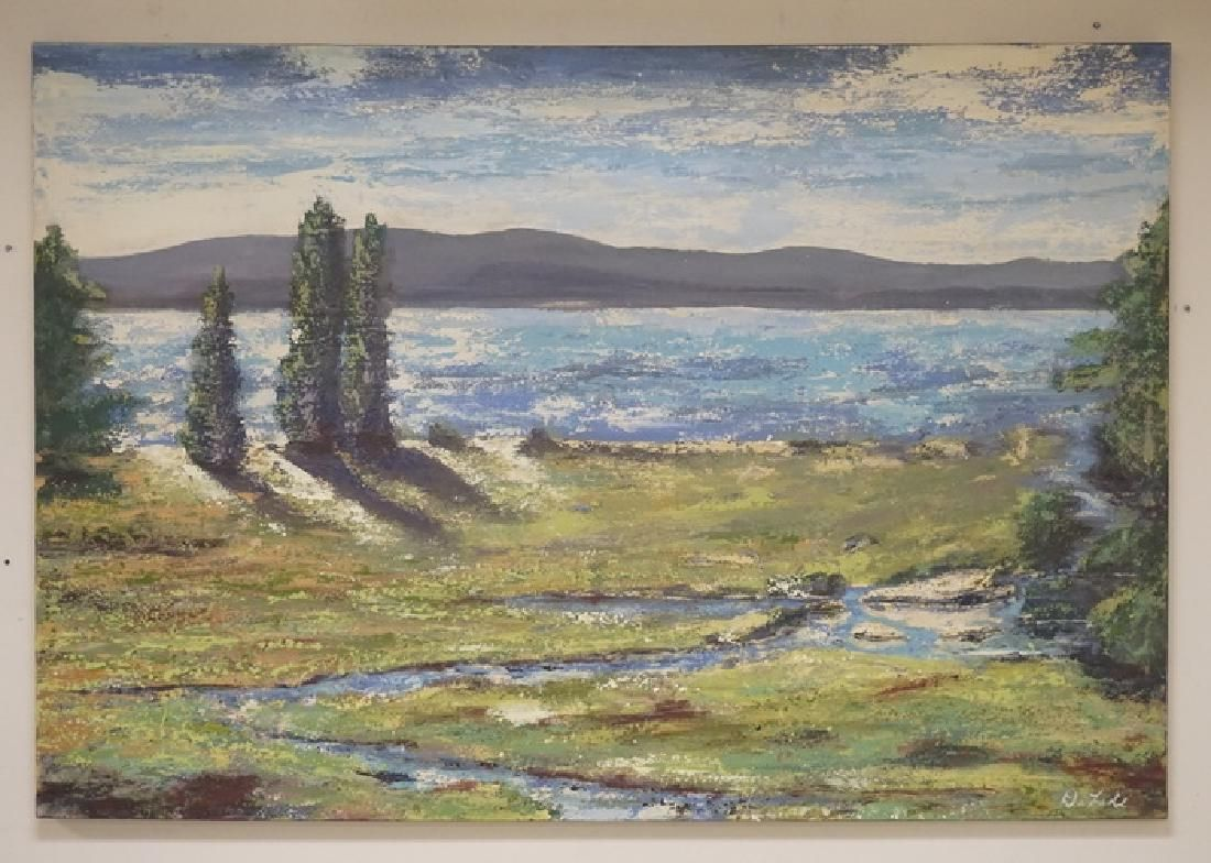 JOHN DELADE LARGE OIL PAINTING ON CANVAS OF A LANDSCAPE