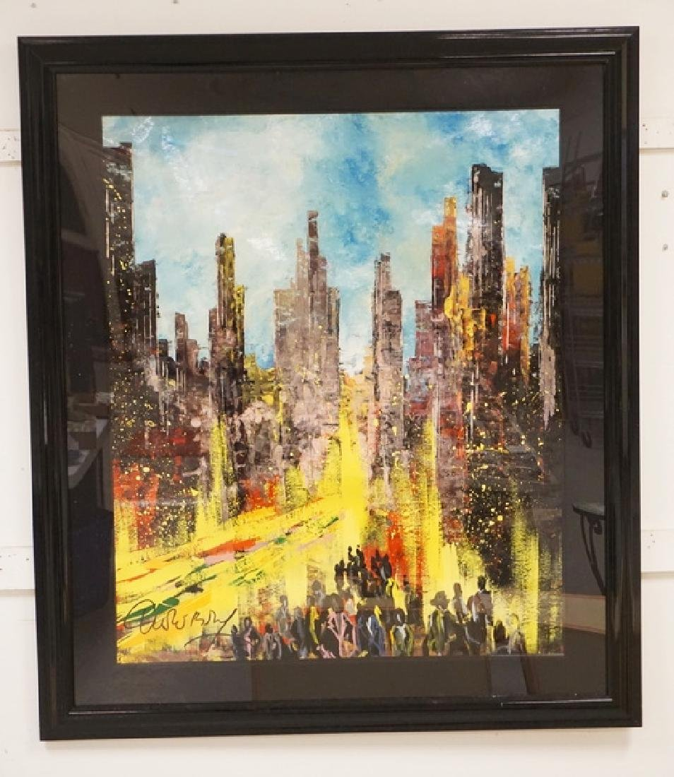 CHRISTIAN CLAEREBOUT LARGE OIL PAINTING ON PAPER OF NEW