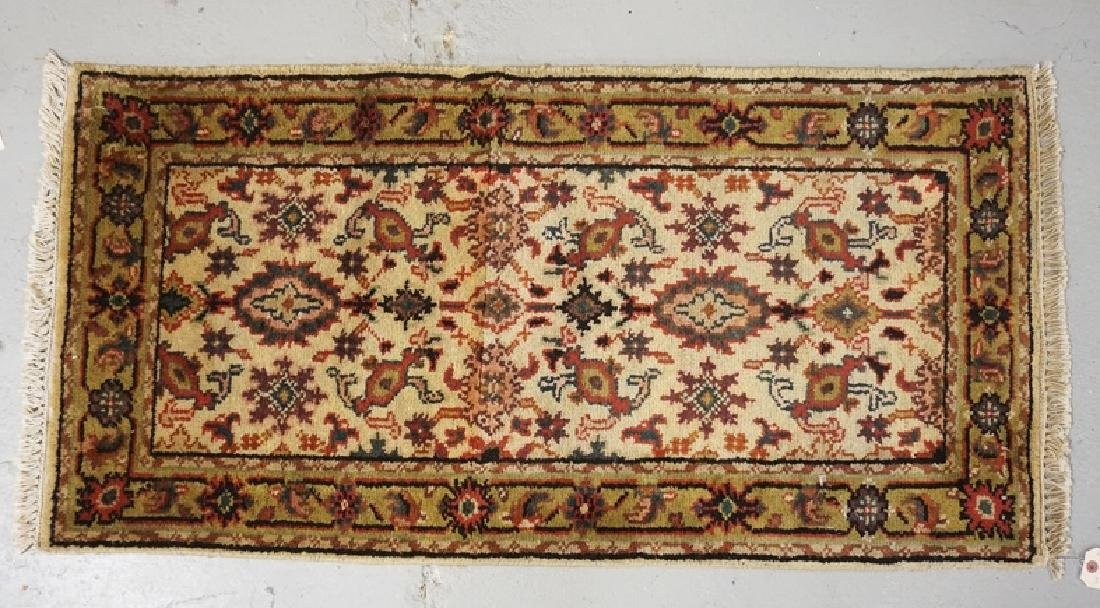 HAND WOVEN ORIENTAL RUG MEASRUING 3 FT 10 X 2 FT.