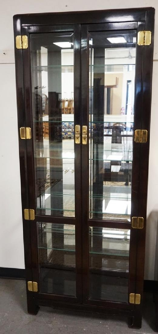 ASIAN STYLED CURIO CABINET WITH A LIGHTED INTERIOR,