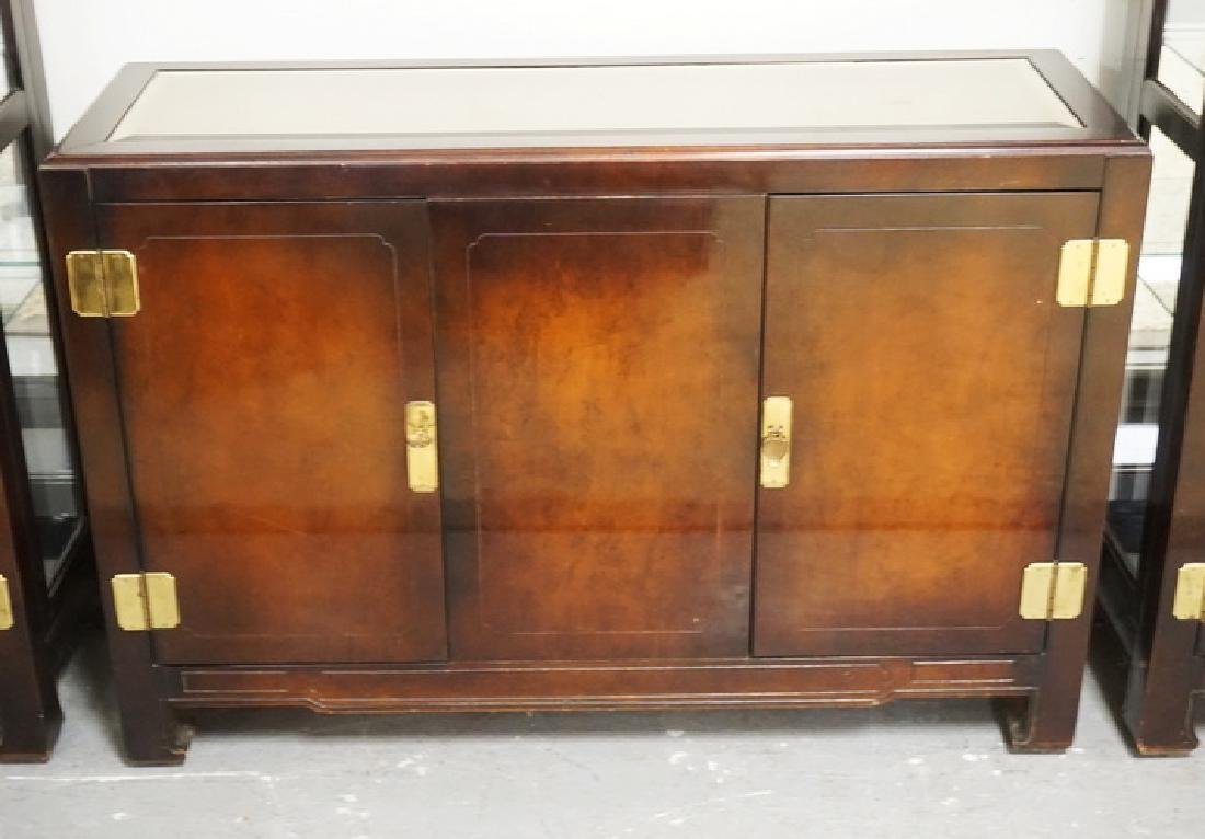 ASIAN STYLED CREDENZA WITH 2 DOORS AND AN INSET MIRROR