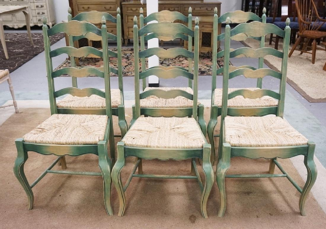 SET OF 6 RUSH SEAT DINING CHAIRS.