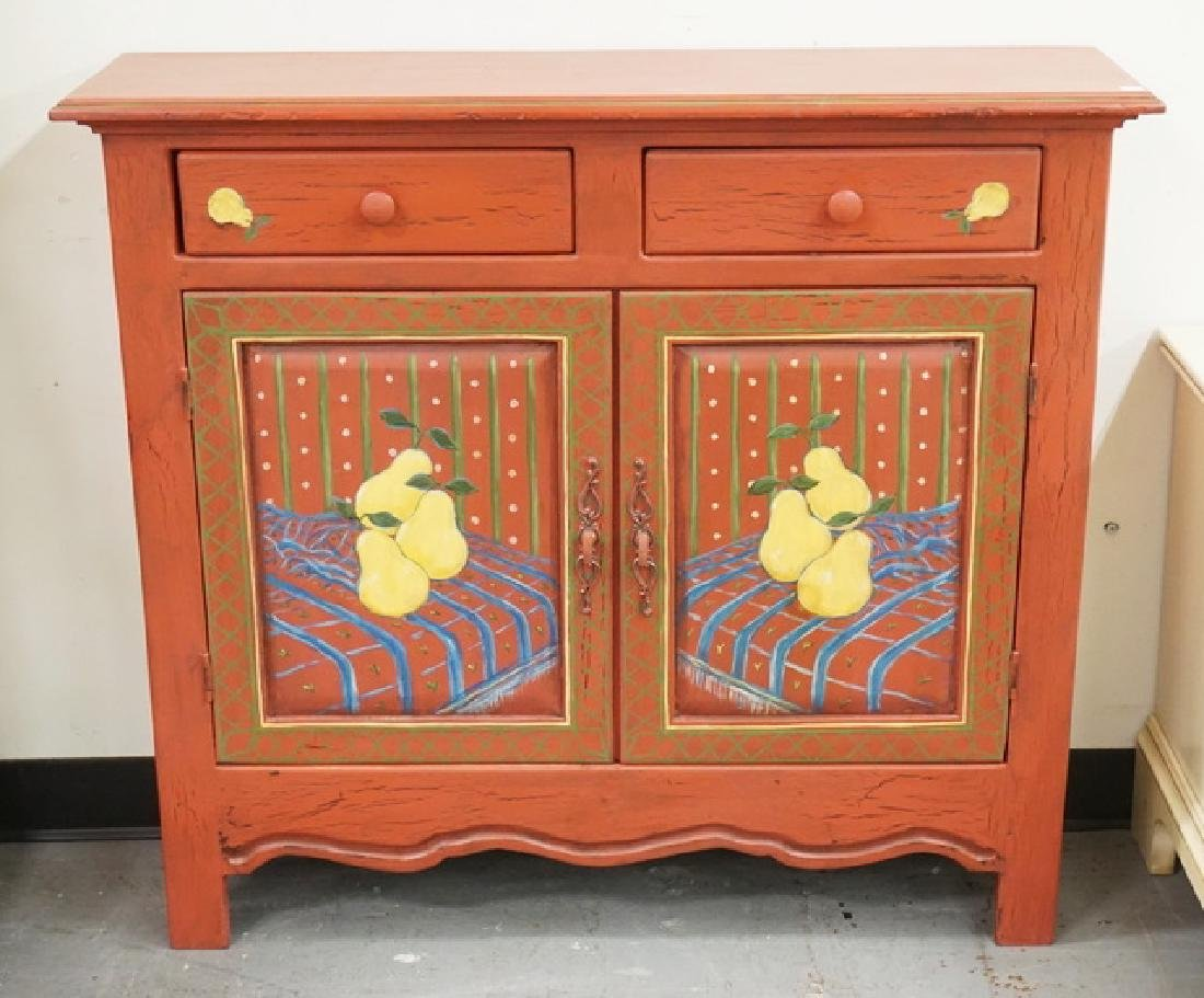 PAINT DECORATED CUPBOARD HAVING 2 DRAWERS OVER 2 DOORS.