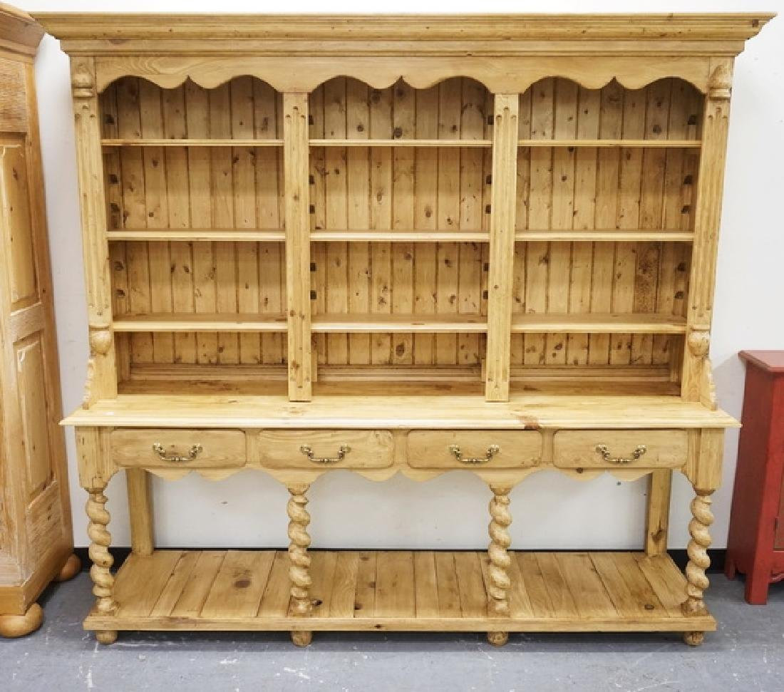 LARGE PINE HUTCH WITH BARLEY TWIST SUPPORTS, 4 DRAWERS,