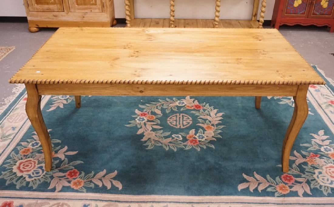 PINE DINING TABLE MEASURING 72 1/2 X 38 1/2 INCH TOP.