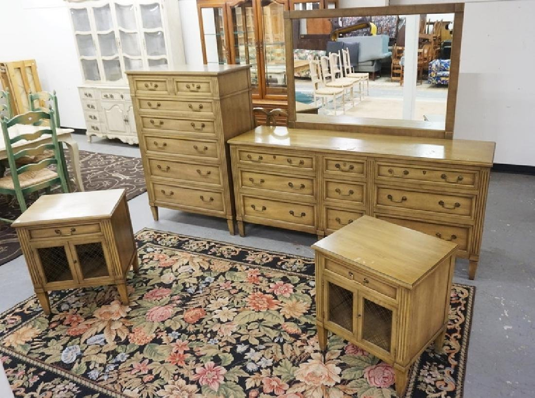 *HERITAGE* BY HENREDON 6 PIECE BEDROOM SET. HIGH CHEST,