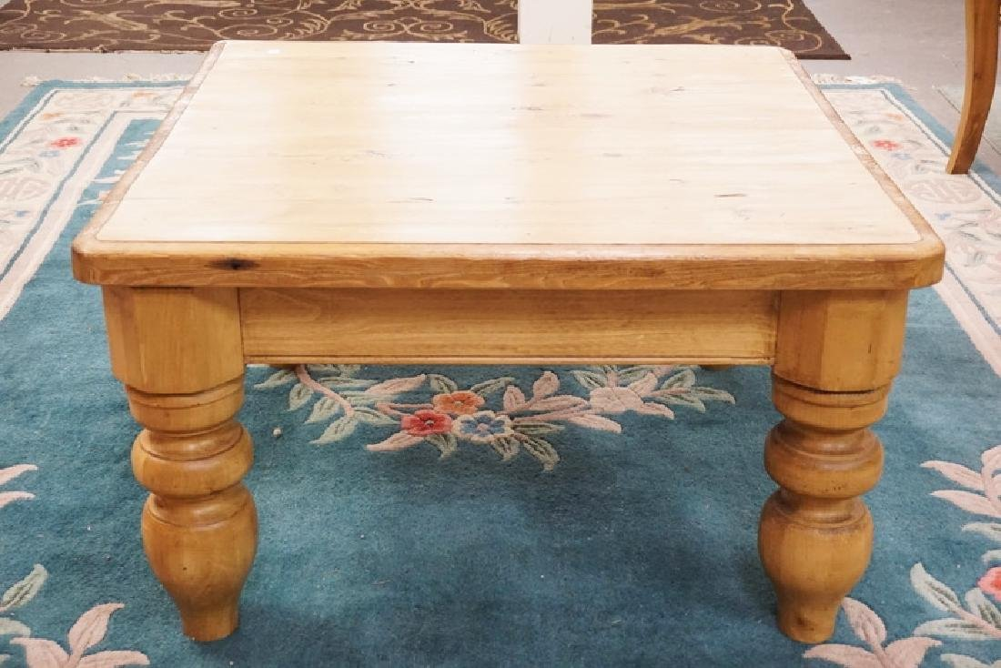 PINE COFFEE TABLE WITH BALUSTER LEGS. 35 1/2 INCHES