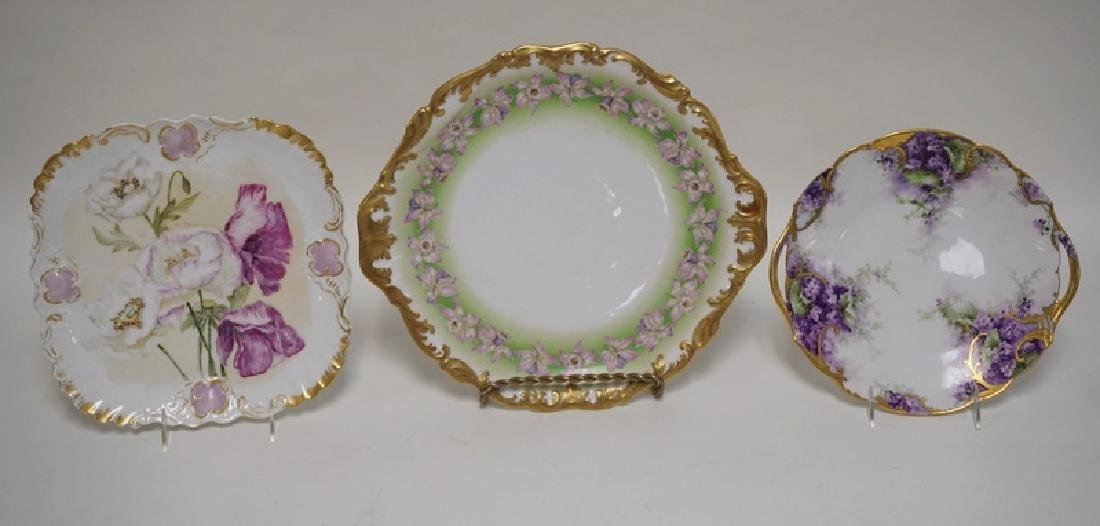 3 PIECES OF HAND PAINTED LIMOGES PORCELAIN. LARGEST IS