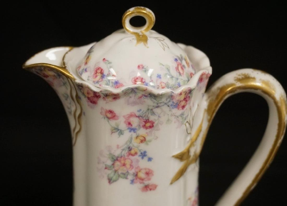 HAVILAND LIMOGES CHOCOLATE POT WITH 6 CUPS AND SAUCERS. - 3