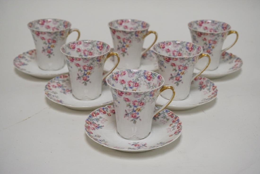 HAVILAND LIMOGES CHOCOLATE POT WITH 6 CUPS AND SAUCERS. - 5