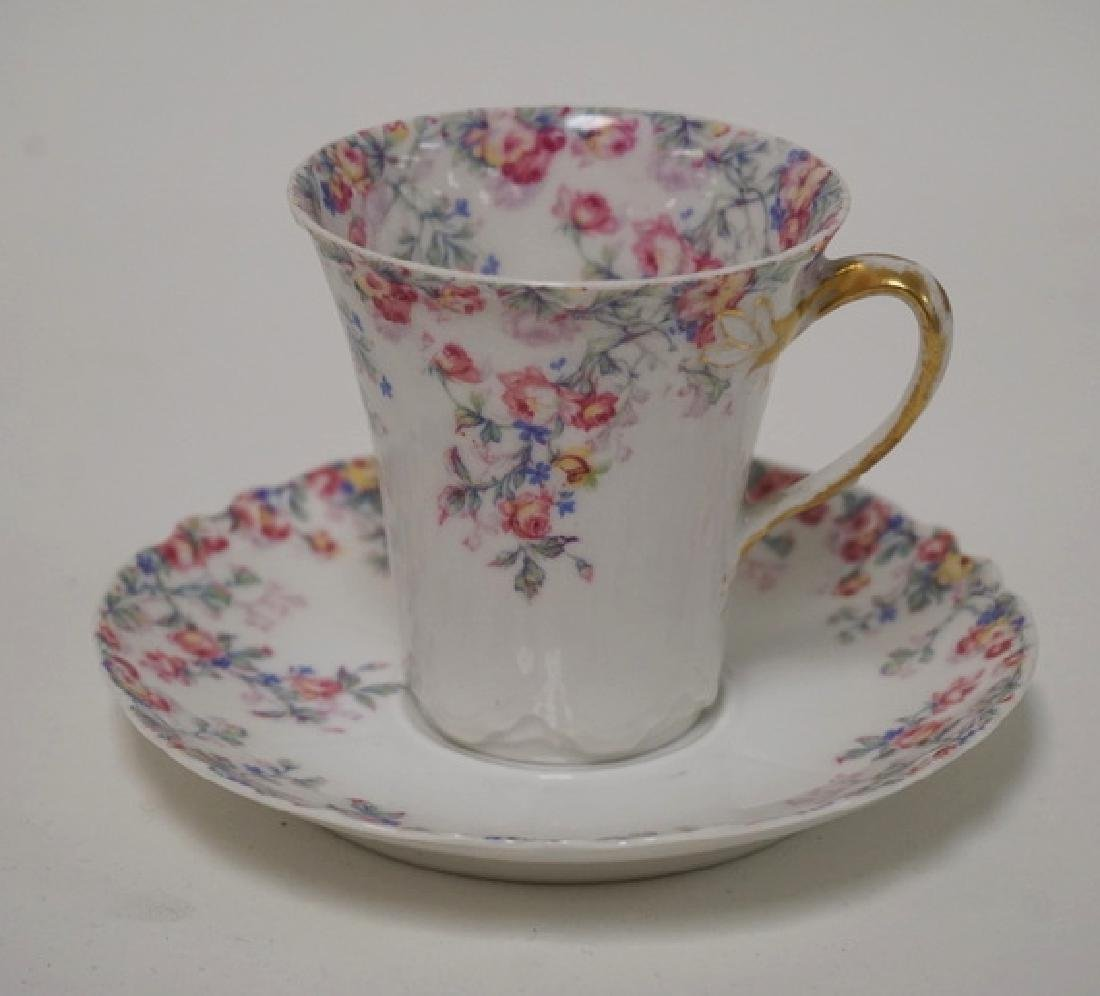 HAVILAND LIMOGES CHOCOLATE POT WITH 6 CUPS AND SAUCERS. - 6