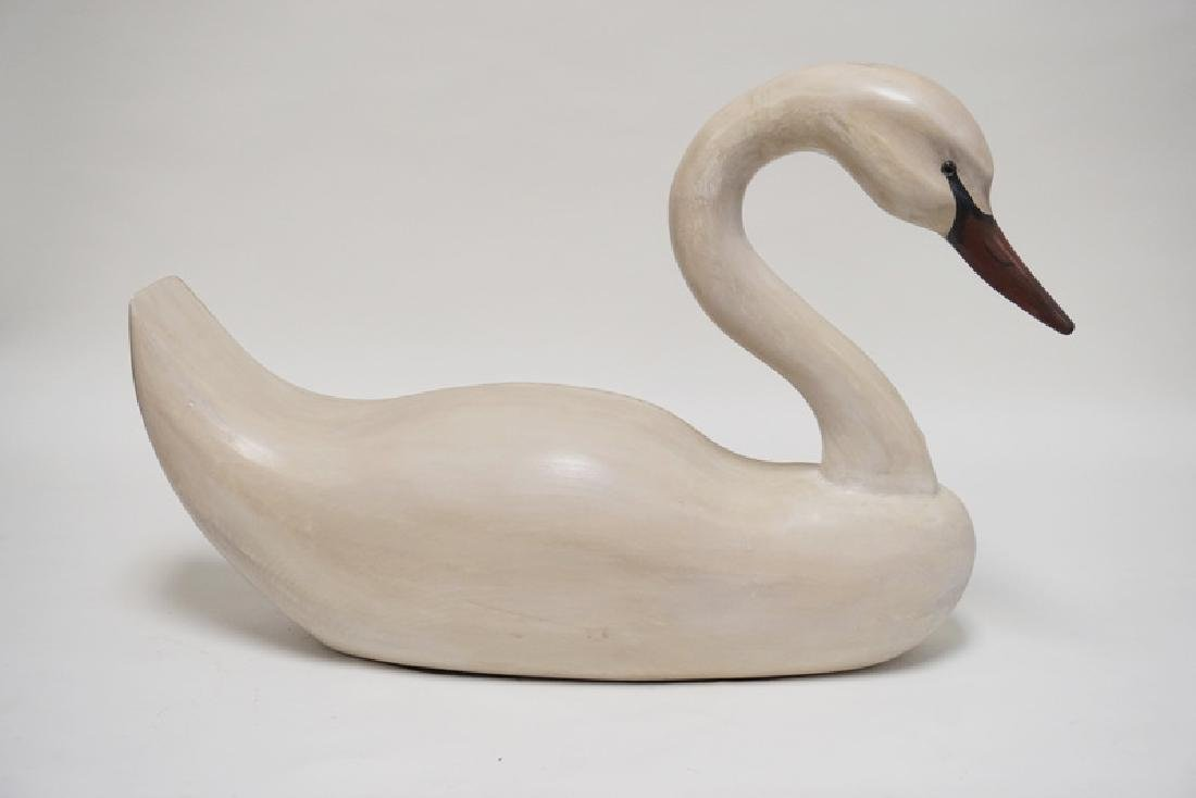 VERY LARGE CARVED WOODEN GOOSE WITH GLASS EYES. 26 5/8