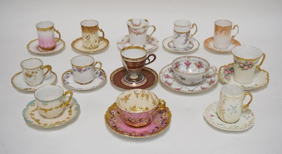 LOT OF 13 CUP AND SAUCER SETS. LIMOGES, DRESDEN, ETC.