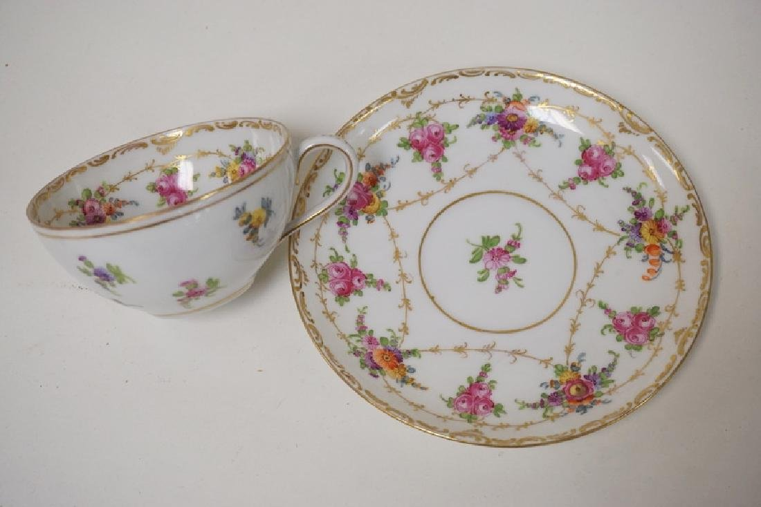 LOT OF 13 CUP AND SAUCER SETS. LIMOGES, DRESDEN, ETC. - 3