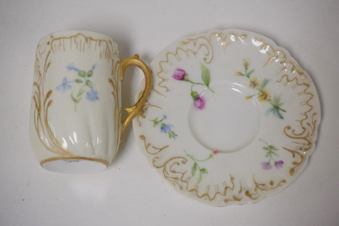 LOT OF 13 CUP AND SAUCER SETS. LIMOGES, DRESDEN, ETC. - 7