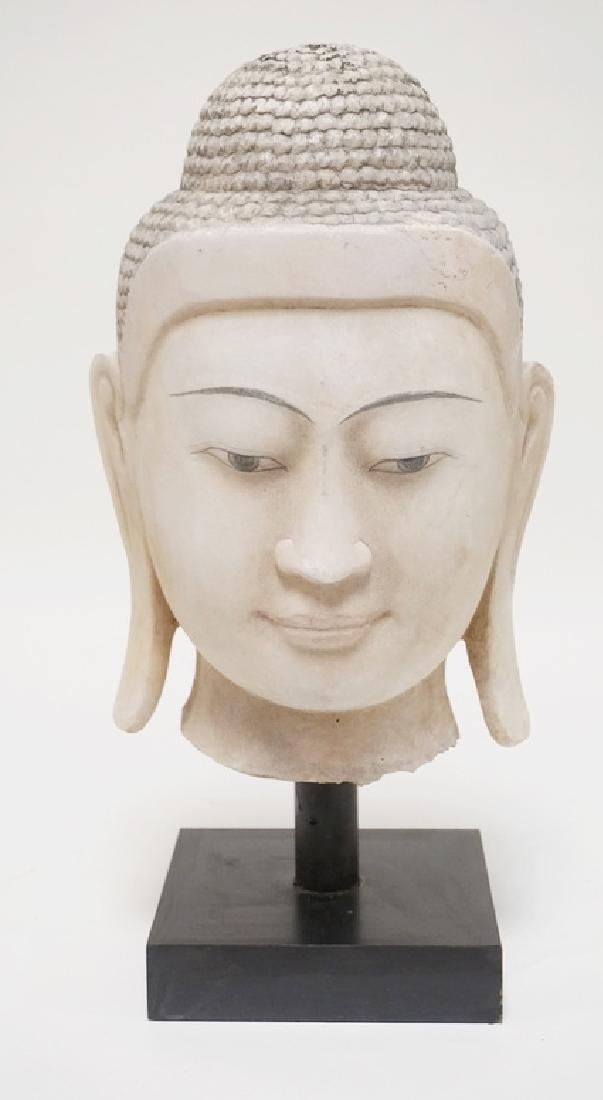 HAND CARVED BURMA ALABASTER THAI BUDDHA MEASURING 18