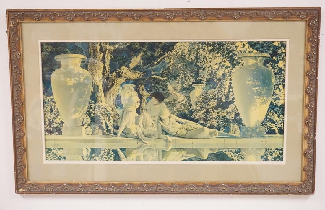 MAXFIELD PARRISH LARGE GARDEN OF ALLAH. REFRAMED. 14 X