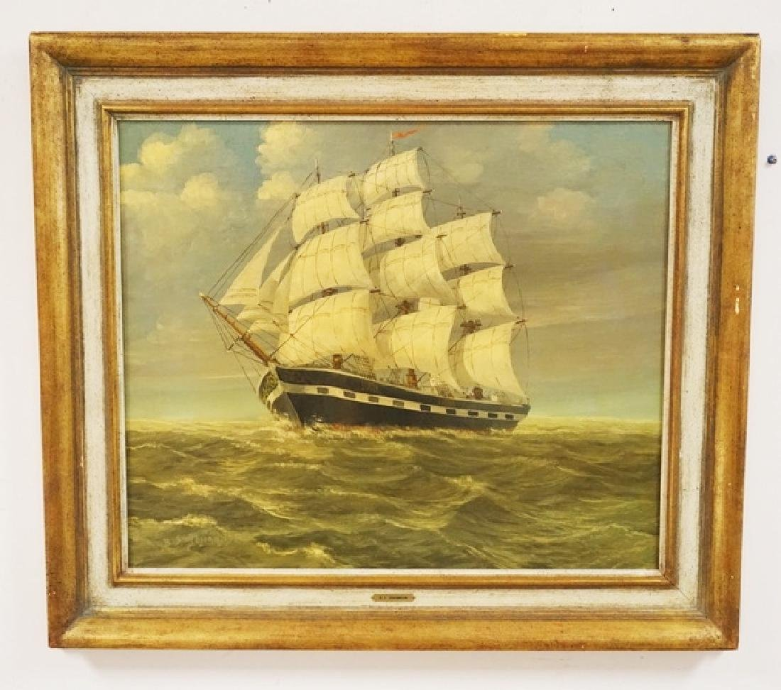 B.S. JOHANNSON OIL PAINTING ON CANVAS OVER BOARD OF A