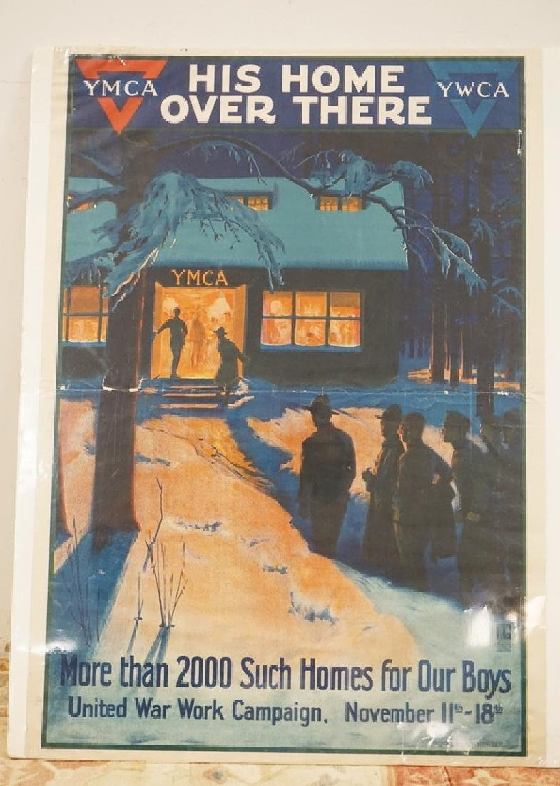 VINTAGE YMCA *HIS HOME OVER THERE* WAR POSTER. HAS
