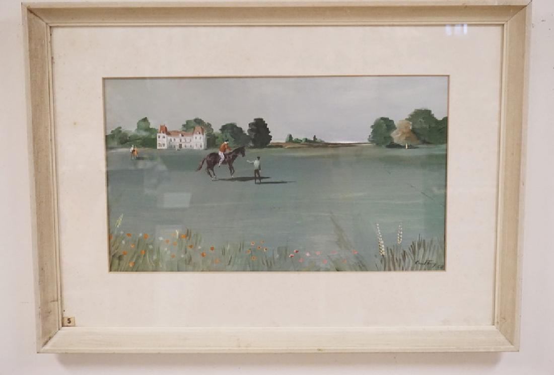 EQUESTRIAN GOUACHE PAINTING DEPICTING A FIGURE TAKING