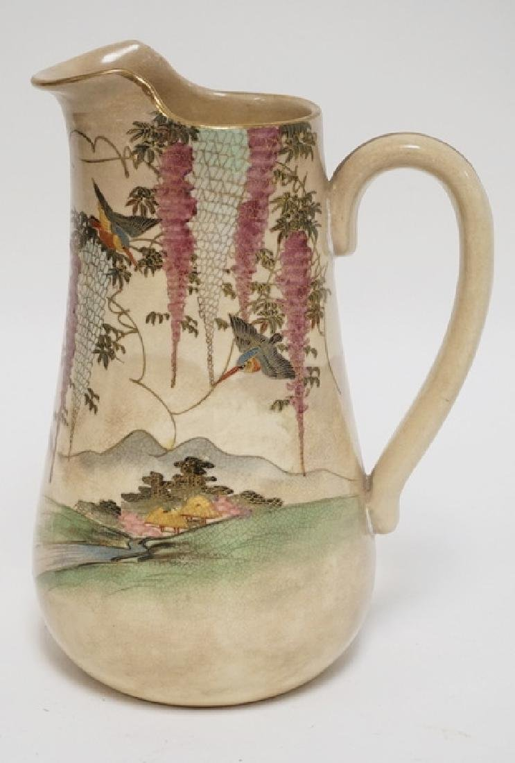 SATSUMA PITCHER DECORATED WITH WISTERIA AND FLYING