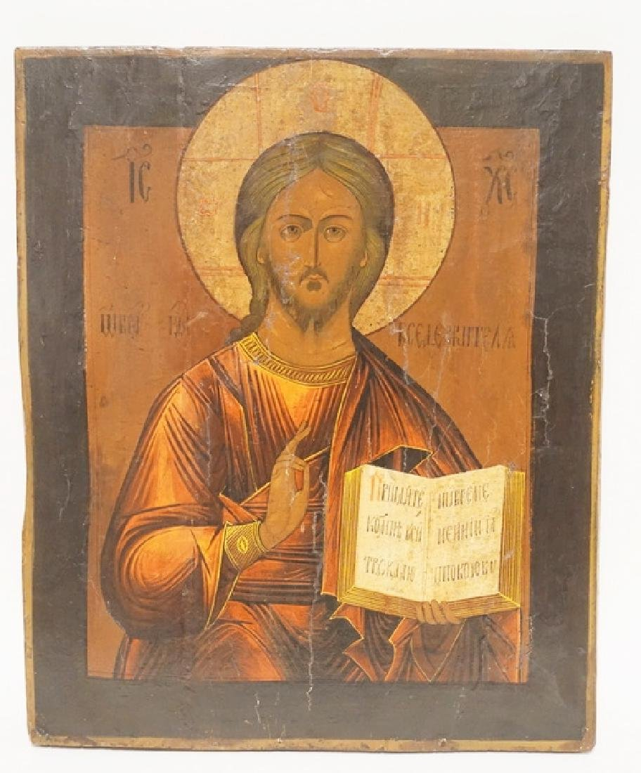 19TH CENTURY RUSSIAN ICON. CHRIST PANTOCRATOR. 19 1/4 X