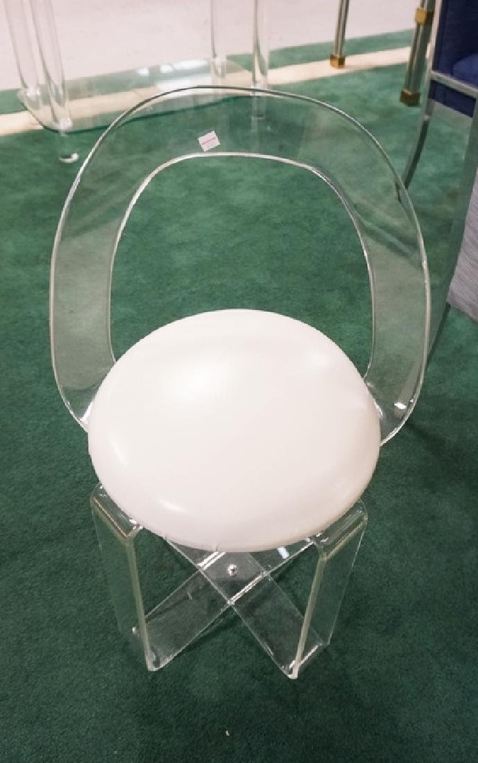 LUCITE VANITY CHAIR.