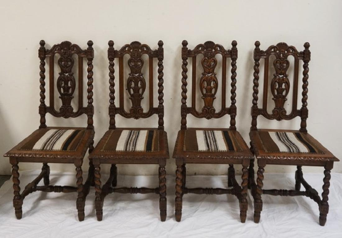 SET OF 4 CARVED OAK DINING CHAIRS WITH BARLEY TWIST
