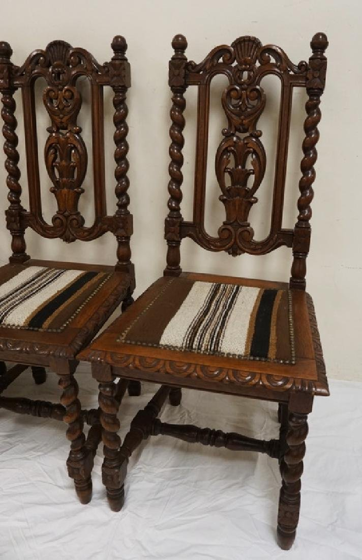 SET OF 4 CARVED OAK DINING CHAIRS WITH BARLEY TWIST - 2