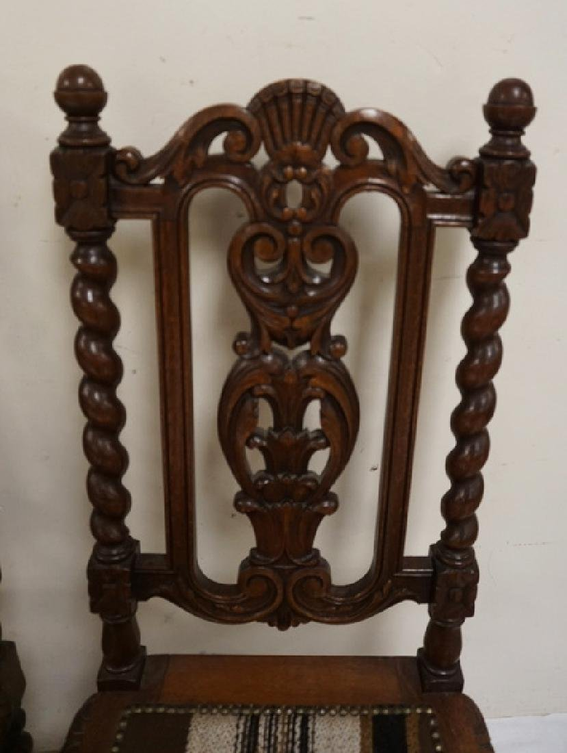 SET OF 4 CARVED OAK DINING CHAIRS WITH BARLEY TWIST - 3