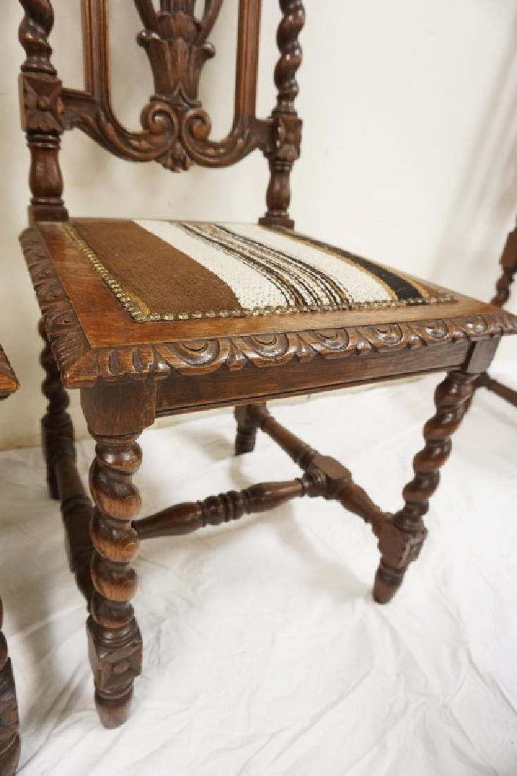 SET OF 4 CARVED OAK DINING CHAIRS WITH BARLEY TWIST - 4