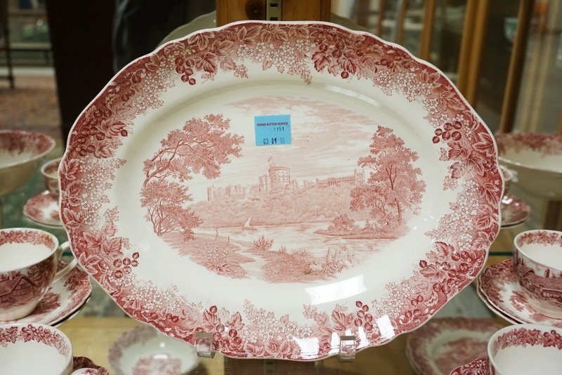 25 PIECES OF MEAKIN RED TRANSFERWARE IN THE *ROMANTIC - 2