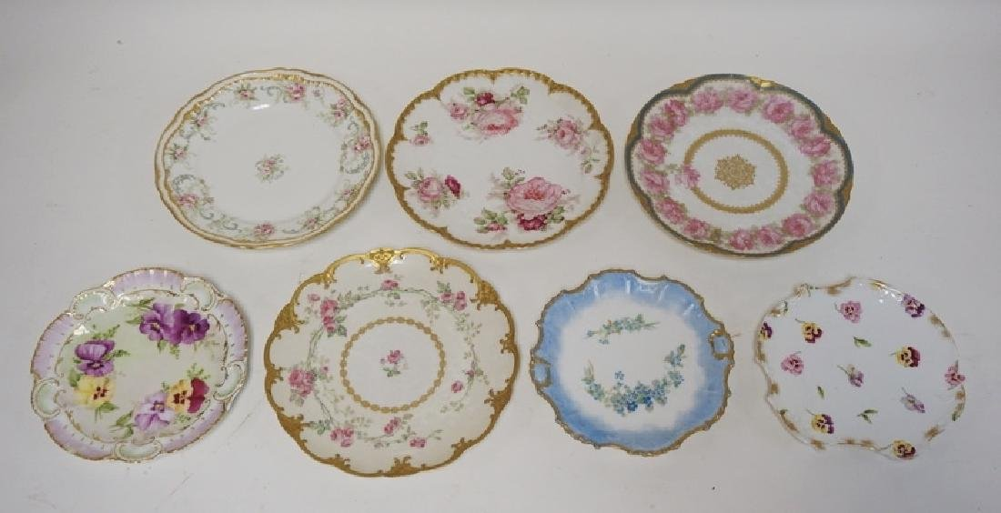 LOT OF 7 HAND PAINTED LIMOGES PORCELAIN PLATES. LARGEST