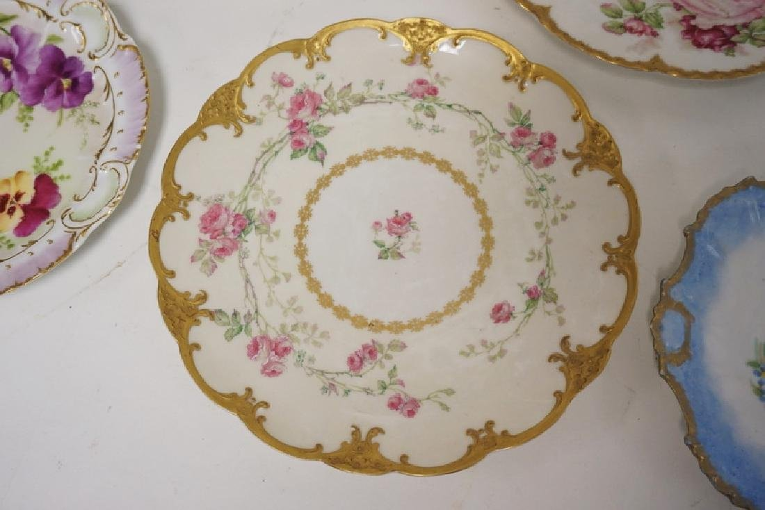 LOT OF 7 HAND PAINTED LIMOGES PORCELAIN PLATES. LARGEST - 3