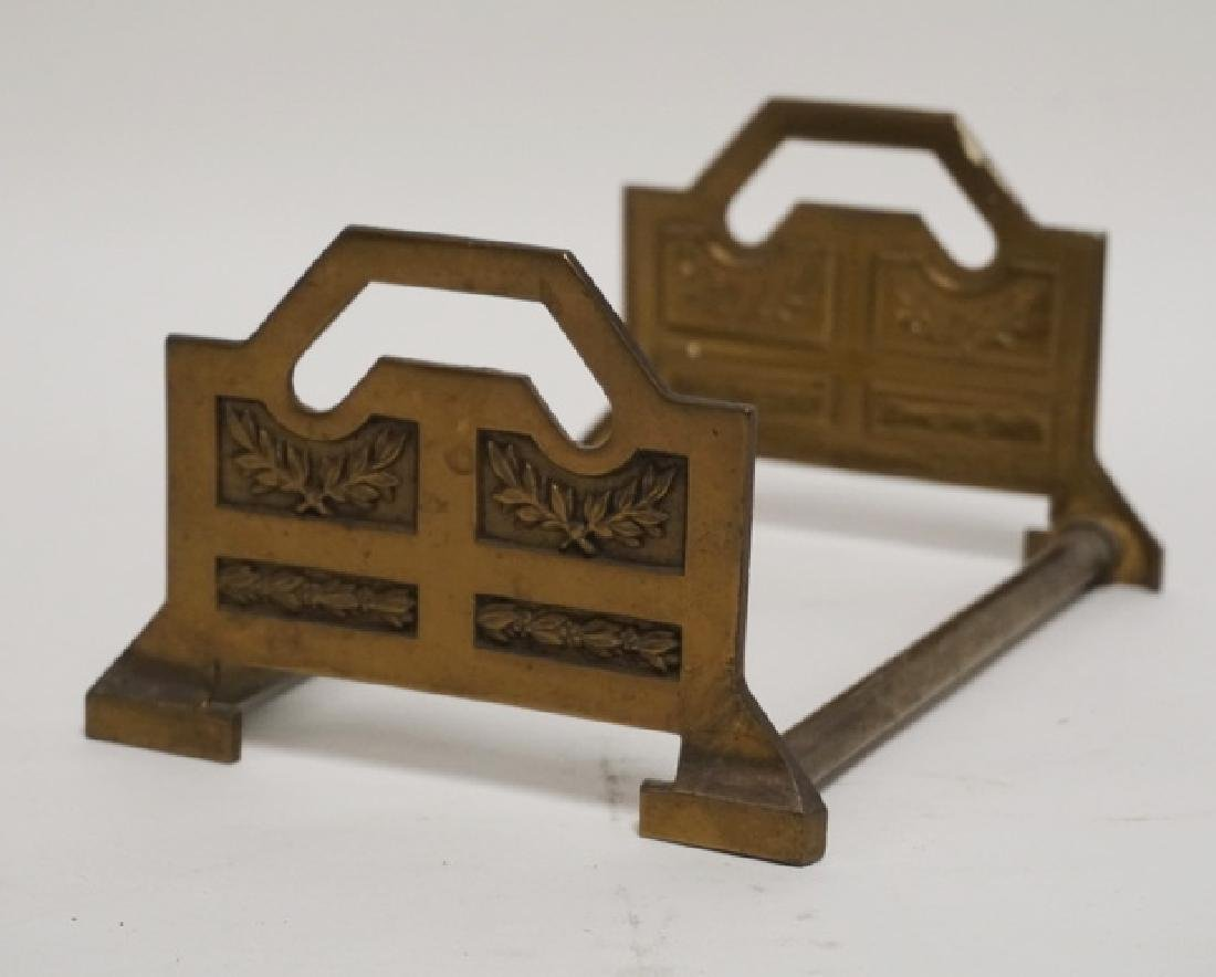 BRONZE TELESCOPING BOOK STAND WITH RELIEF DECORATED