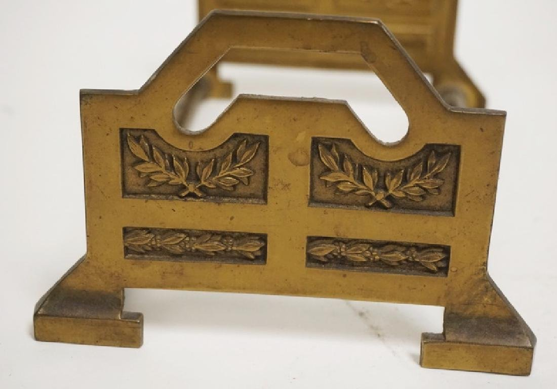 BRONZE TELESCOPING BOOK STAND WITH RELIEF DECORATED - 2