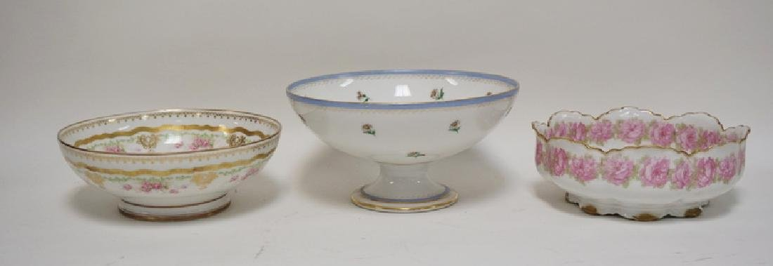 LOT OF 3 HAND PAINTED LIMOGES PORCELAIN BOWLS. THE