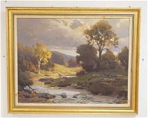 LANDSCAPE OIL PAINTING ON CANVAS WITH TREES LINING A