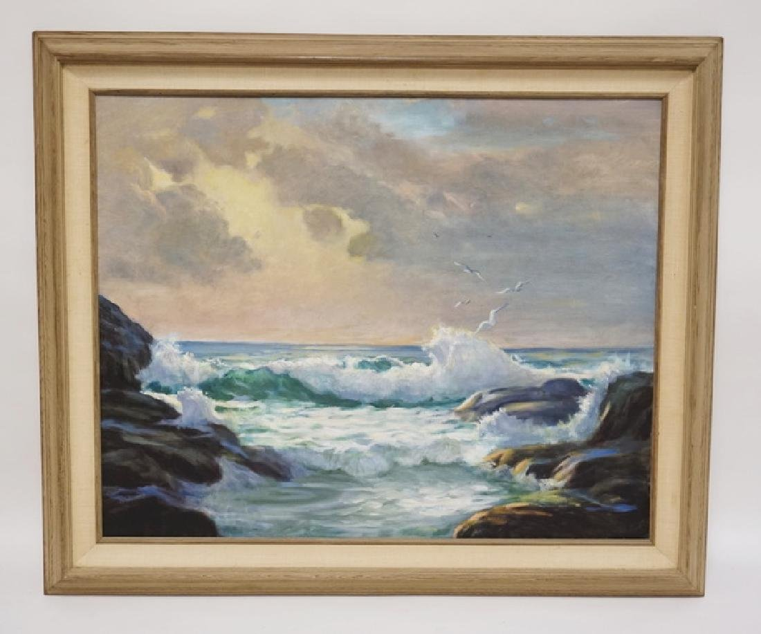 OIL PAINTING ON CANVAS OF OCEAN WAVES CRASHING ON
