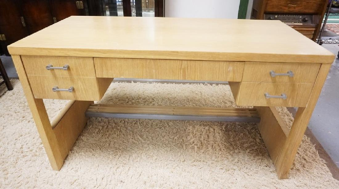 MCM DESK BY CENTURY. 54 1/4 INCHES X 26 INCHES TOP. 30